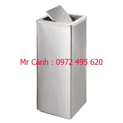 Thùng rác inox vuông nắp lật xoay A34-F