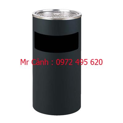 thùng rác inox gạt tàn màu đen a35-a
