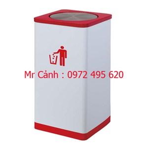 Thùng rác inox nắp lật vuông đỏ đỏ trắng A43-E