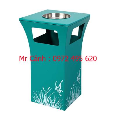 Thùng rác có gạt tàn thuốc A49 màu xanh