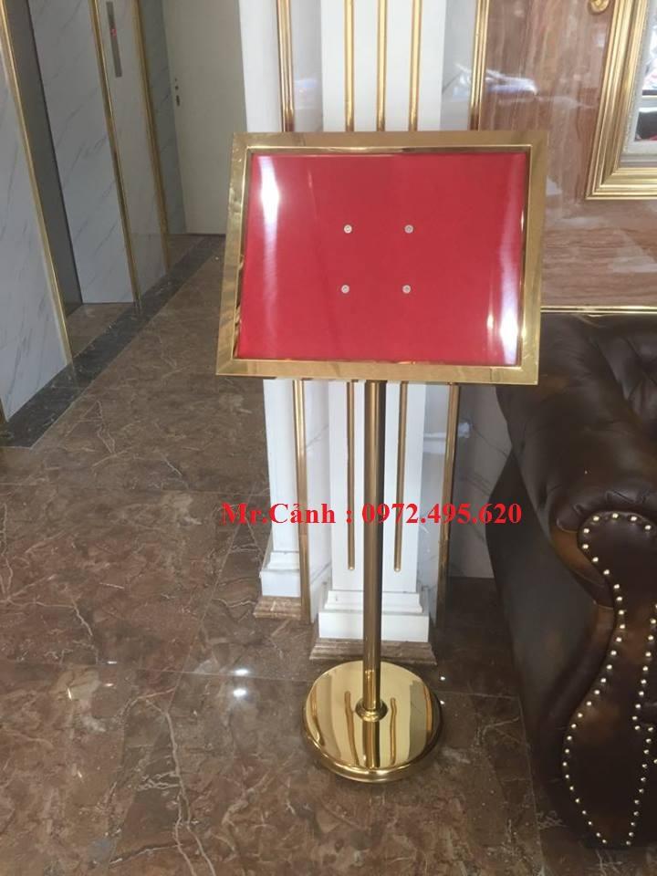 Biển menu inox mạ vàng B14 khổ giấy A3