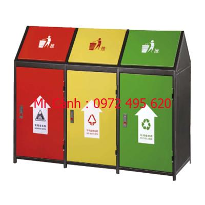 thùng rác ngoài trời A37-O | thùng rác ba ngăn ngoài trời A37-O