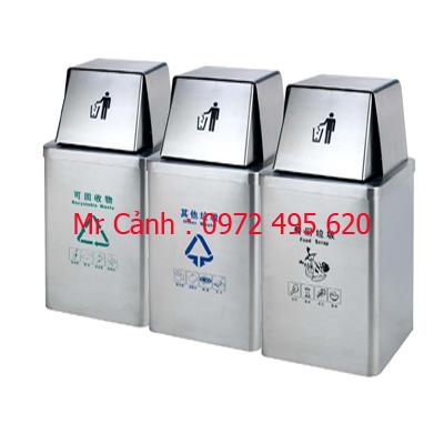 Thùng rác ba ngăn ngoài trời A86-G