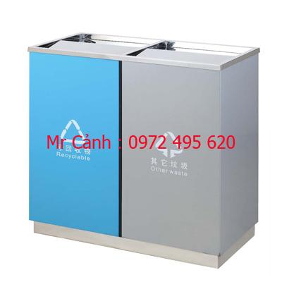 thùng rác hai ngăn nắp lật A58-K | thùng rác inox hai ngăn A58-K