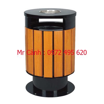 thùng rác gỗ tròn A78-F
