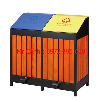 thùng rác gỗ hai ngăn A58-H | thùng rác hai ngăn có đạp chân A58-H