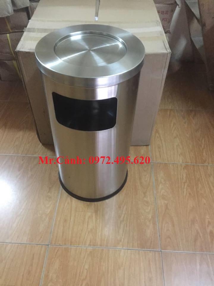 thùng rác inox có gạt tàn A35-N