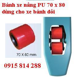 Bánh xe nâng tay 70x80mm Pu-Nilon