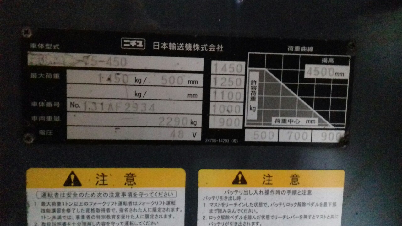 Xe nâng điện đứng lái NICHIYU FBRM15-75 1,5 tấn sx 2007