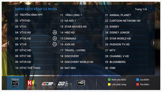 Danh sách kênh cá nhân - Truyền Hình FPT