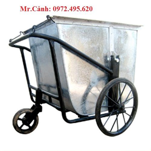 xe gom rác đẩy tay 500 lít bằng tôn