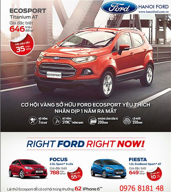 ưu đãi đặc biệt dành cho khách hàng mua xe EcoSport.