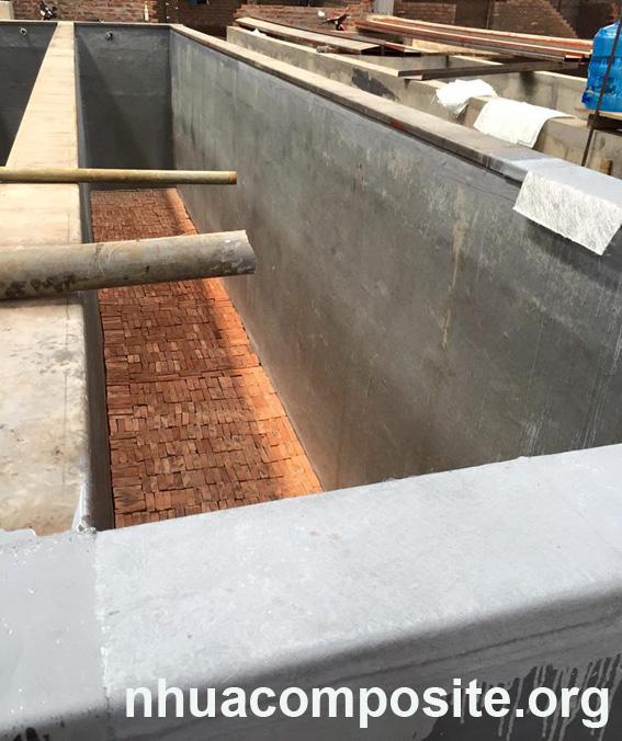 Bọc phủ bể bê tông tại Cty Cơ khí An Việt