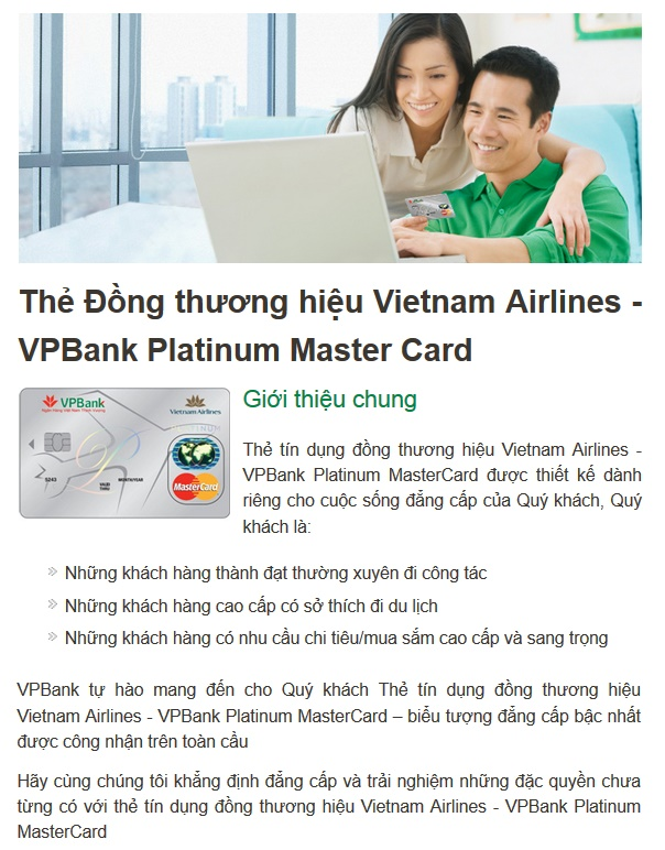Thẻ Đồng thương hiệu Vietnam Airlines - VPBank Platinum Master Card