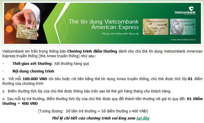 Chương trình điểm thưởng dành cho chủ thẻ tín dụng Vietcombank