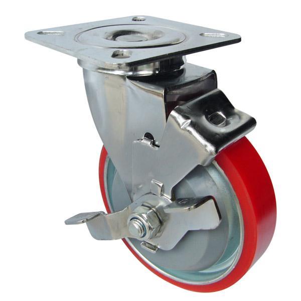Bánh xe công nghiệp PU phuy 100/130/150 chân càng làm bằng thép có kí hiệu chữ G, được mạ NiKel,crome, có khả năng mài mòn tốt, khả năng chịu nhiệt cao