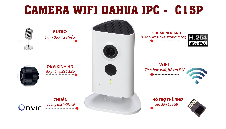 Bộ camera IP không dây Dahua IPC-C15P (HD960P, wifi, thẻ nhớ)