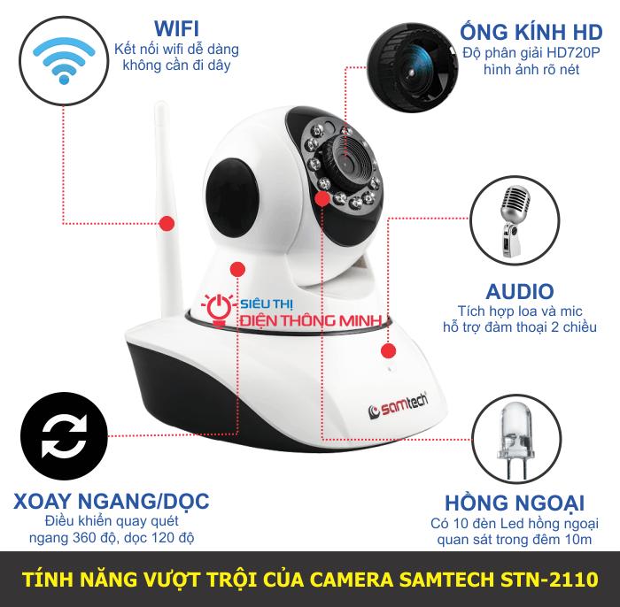 Bộ camera IP quay quét Samtech STN-2110 (HD720P, wifi, thẻ nhớ)