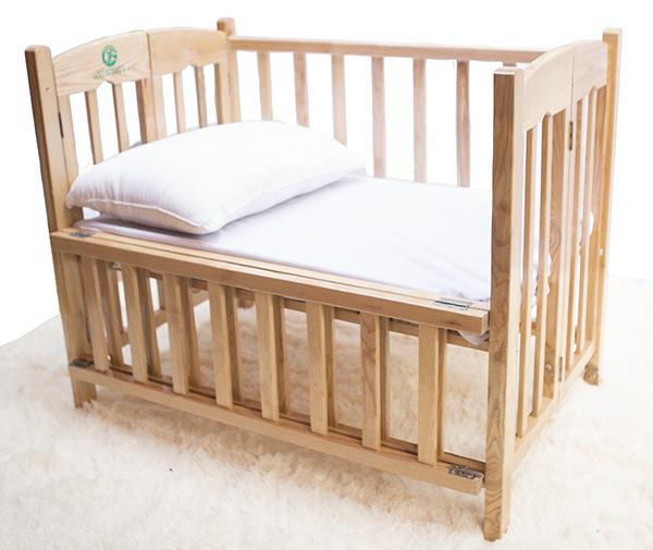 Cũi gỗ sồi cho bé sơ sinh 3