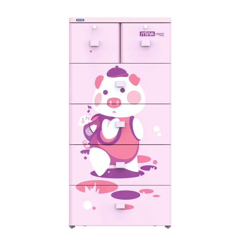 Tủ nhựa mina màu hồng 5 ngăn
