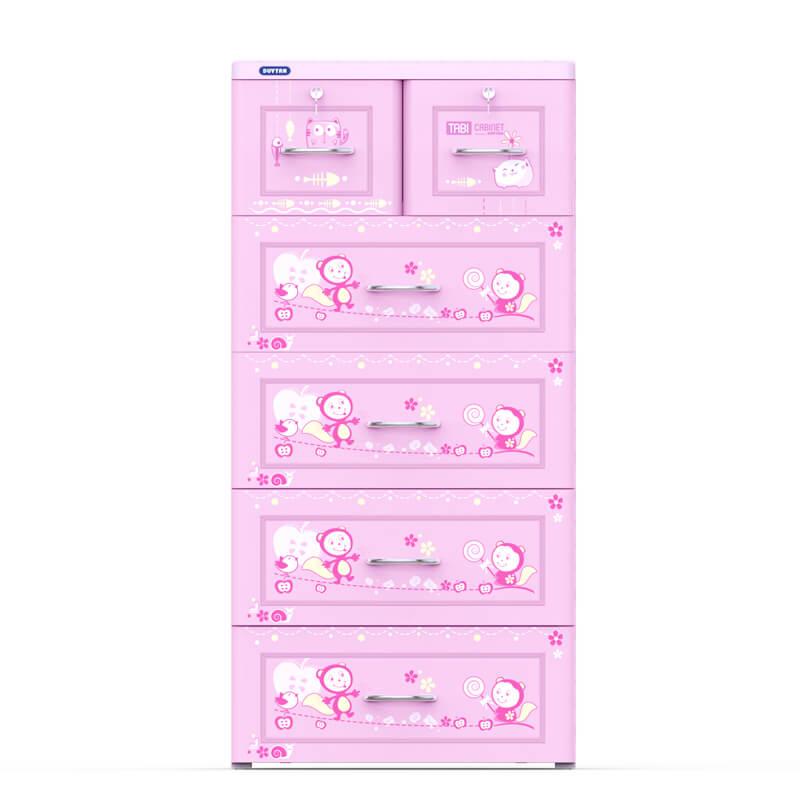 Tủ nhựa Duy Tân Tabi 5 tầng 6 ngăn màu hồng