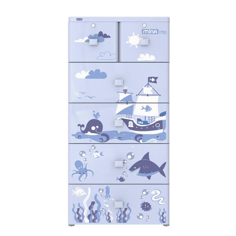 Tủ nhựa Mina xanh dương 5 ngăn Duy Tân
