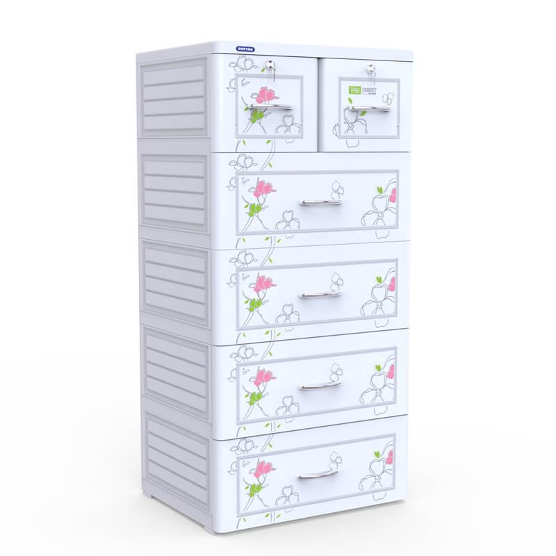 Tủ nhựa Duy Tân tabi màu trắng 5 ngăn