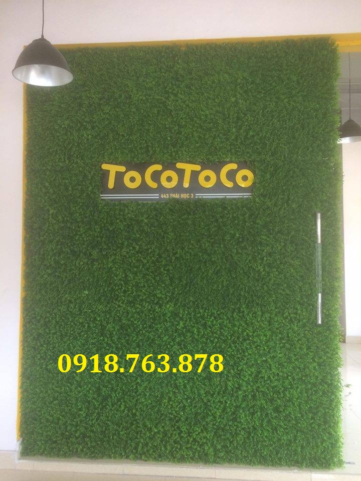 tường cỏ giả trang trí quán trà sữa, cafe, coffee