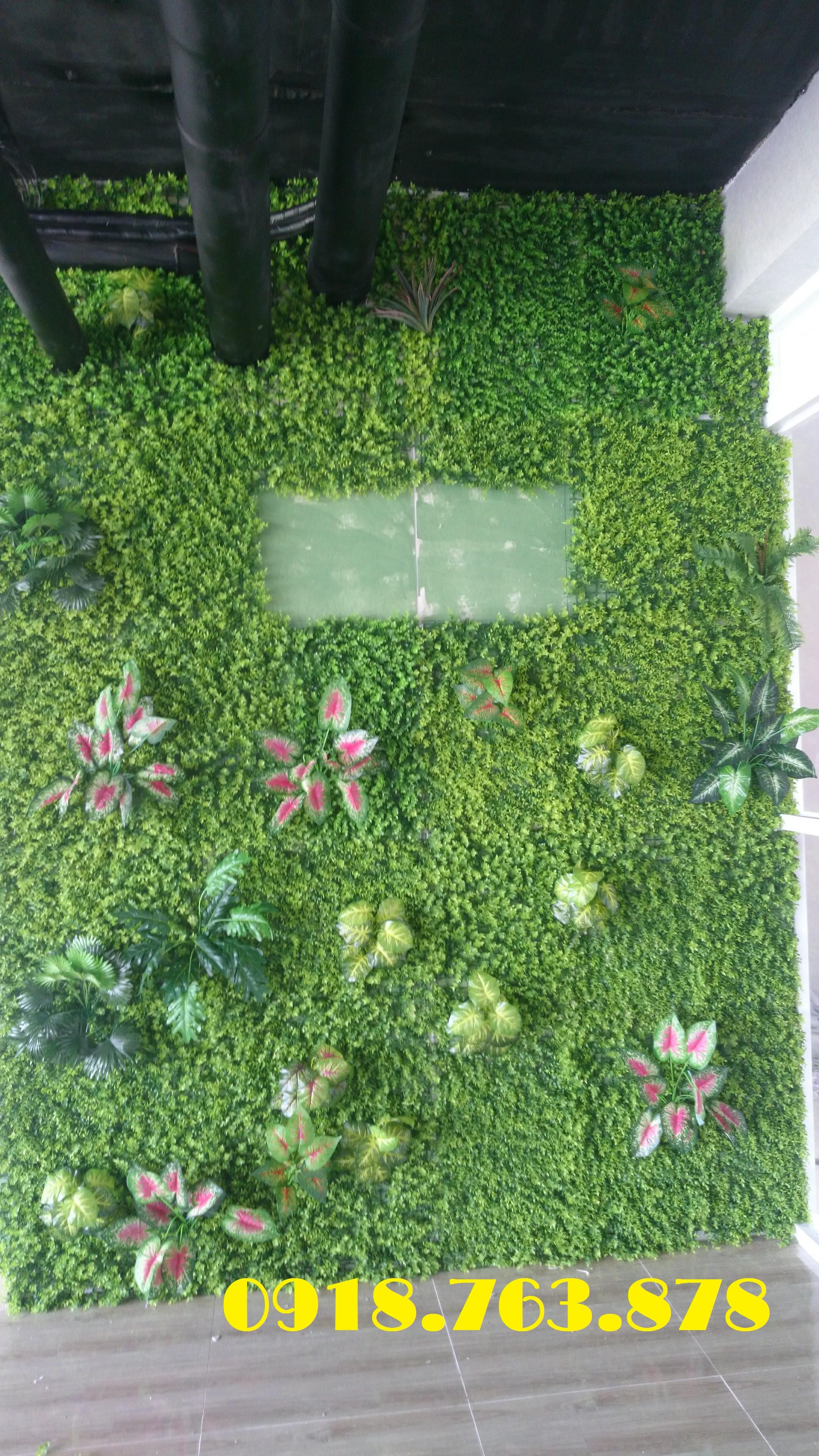 thi công tường cỏ điểm cây