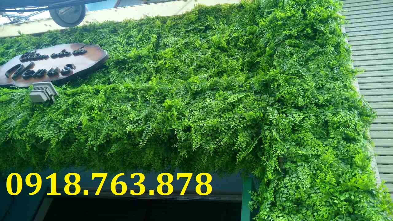 Thi công tấm cỏ nhựa, tấm lá nhựa trang trí bảng hiệu cho spa Venus, Phan Ngữ, Quận 1