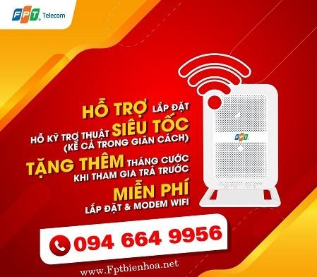 Lắp Mạng WiFI FPT Biên Hòa Miễn Phí 100%, Tặng 3 Tháng Cước