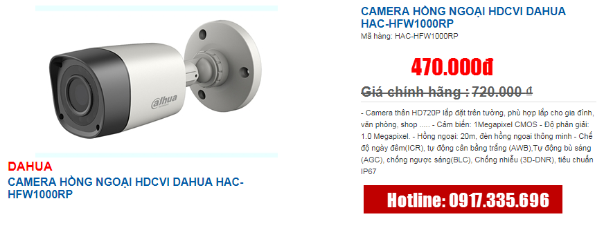 CAMERA HỒNG NGOẠI HDCVI DAHUA HAC-HFW1000RP