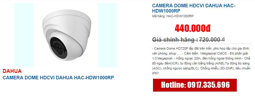 CAMERA DOME HDCVI DAHUA HAC-HDW1000RP