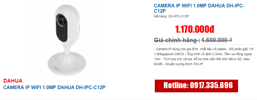 CAMERA IP WIFI 1.0MP DAHUA DH-IPC-C12P