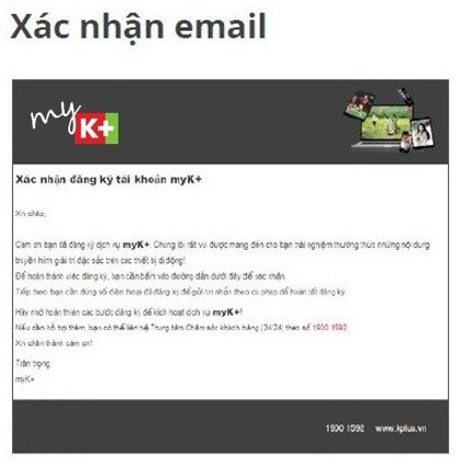 xác nhận Email đăng ký MyK+
