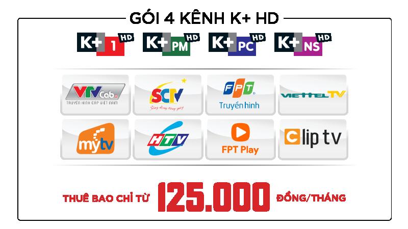gói 4 kênh k+ trên truyền hình đối tác