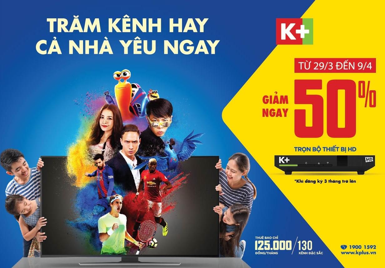 Truyền hình K+ giảm 50% phí lắp đặt bộ đầu thu HD