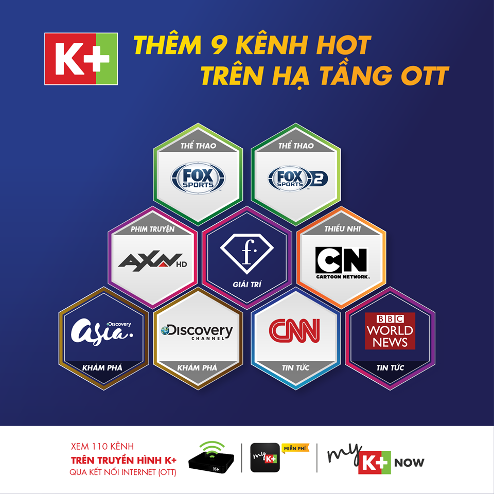 truyền hình k+ bổ sung 9 kênh quốc tế