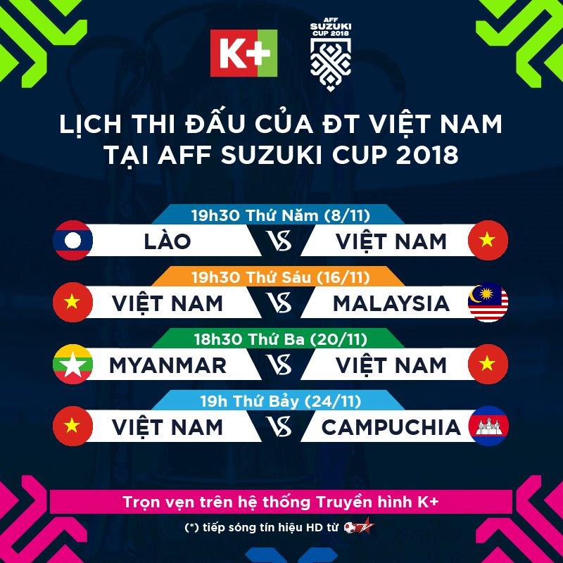 Truyền hình K+ phát sóng toàn bộ giải đấu AFF Cup 2018