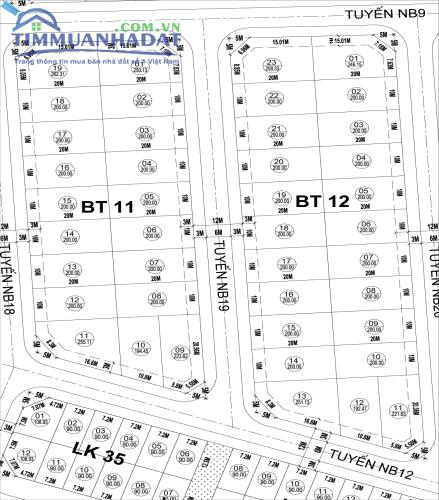 Biệt thự BT11,BT12,BT13 cạnh trục đường rộng 30m Dự án Phú Lương