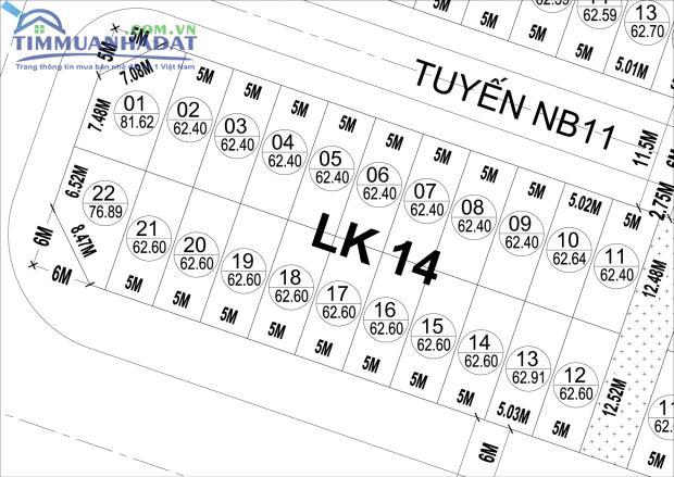 LK14,LK15 liền kề ĐTM Phú Lương đường 30m hướng Đông Bắc,Tây Nam