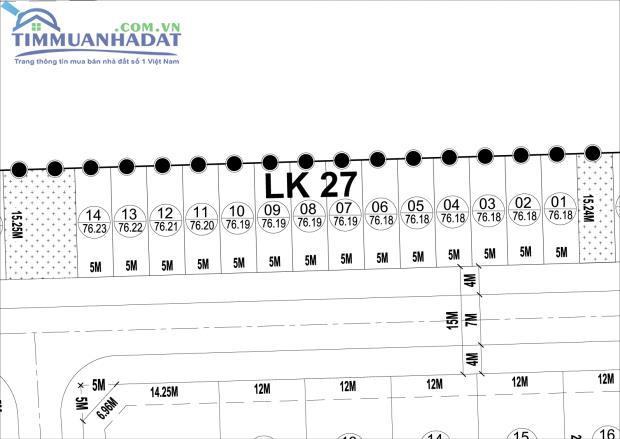 LK27, LK28 liền kề Dự án Phú Lương đường rộng 15m sát cổng dự án