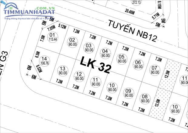 Liền kề LK32,LK33,LK34 Dự án Phú Lương cạnh trường mầm non