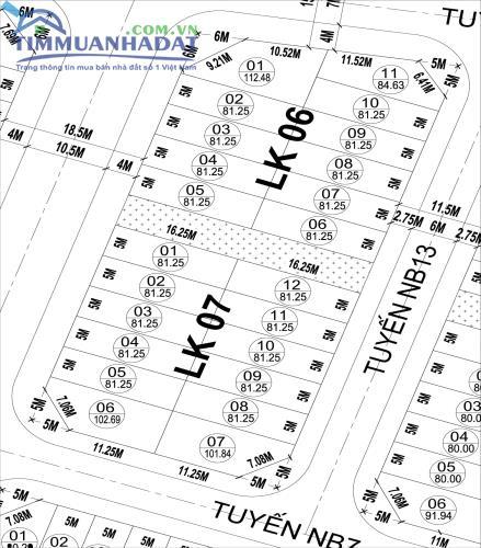 Liền kề 06, 07 Dự án KĐT Phú Lương, Hà Đông đường 18.5m