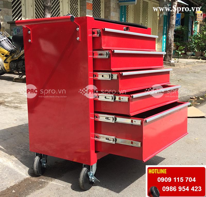 Tủ 5 ngăn, tủ đựng đồ nghề dụng cụ 5 ngăn có khóa 4 bánh xe