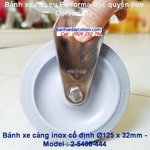 Bánh xe cao su đặc d125 càng inox cố định