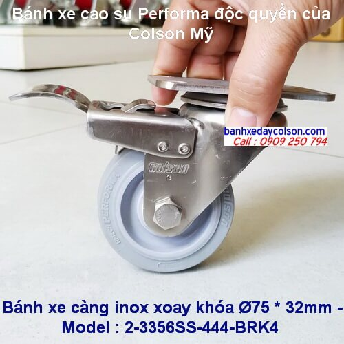 Bánh xe đẩy cao su có khóa càng inox phi 75