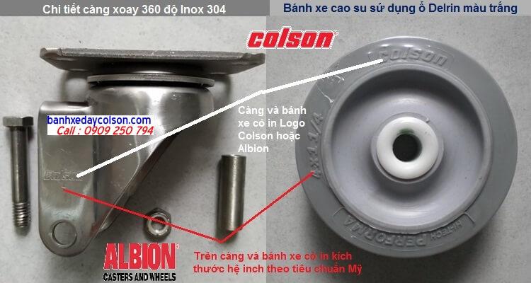 càng bánh xe xoay đa chiều inox 304 cao su Colson banhxedaycolson.com