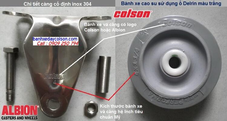 càng cố định bánh xe cao su inox 304 Colson Mỹ banhxedaycolson.com
