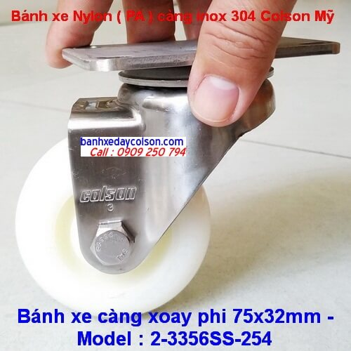 Bánh xe đẩy càng xoay inox 304 phi 75 Nylon trắng